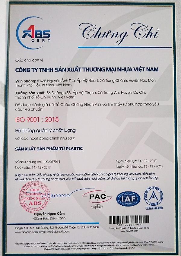 Công ty TNHH SX TM NHỰA VIỆT NAM đã đạt chứng nhận về chất lượng